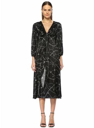 Academia Derin V Yaka Zincir Desenli Midi İpek Elbise Siyah